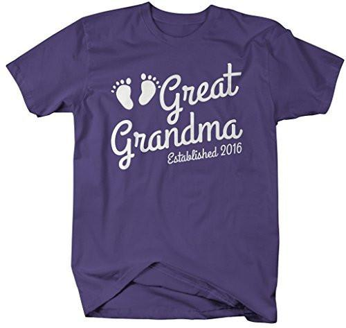 Shirts By Sarah Women's Great Grandma Established 2016 T-Shirt Baby Feet Cute Shirts-Shirts By Sarah