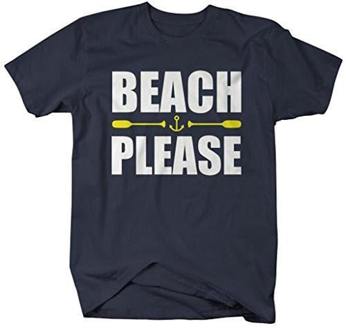 Shirts By Sarah Men's Funny Beach Please T-Shirt Nautical Shirts-Shirts By Sarah