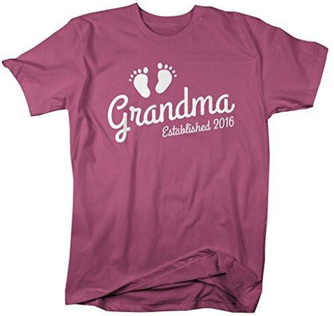 Shirts By Sarah Women's Grandma Established 2016 Unisex T-Shirt Baby Feet Cute Shirts-Shirts By Sarah
