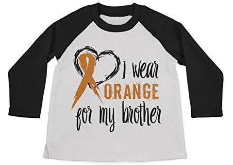 Shirts By Sarah Boy's Wear Orange For Brother Shirt 3/4 Sleeve Raglan Orange Awareness Shirts-Shirts By Sarah
