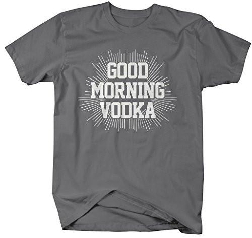 Shirts By Sarah Men's Funny Good Morning Vodka Drinking T-Shirt-Shirts By Sarah