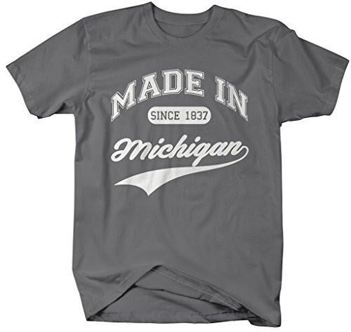 Shirts By Sarah Men's Made In Michigan T-Shirt Since 1837 State Pride Shirts-Shirts By Sarah