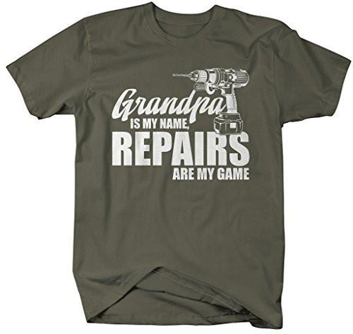Shirts By Sarah Men's Funny Grandpa Is Name Repairs Game Fix It Shirt Gift Father's Day-Shirts By Sarah