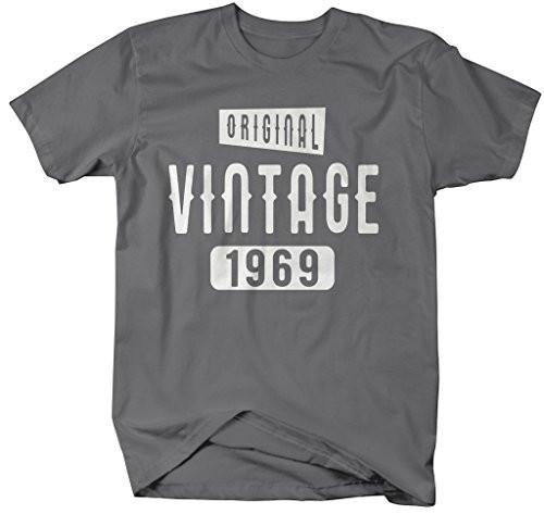Shirts By Sarah Men's Original Vintage Birthday Year Shirts Made In 1969 T-Shirt-Shirts By Sarah