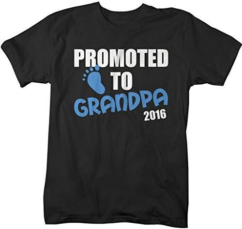 Shirts By Sarah Men's Promoted To Grandpa Gift 2016 T-Shirt Fathers Day Shirt-Shirts By Sarah