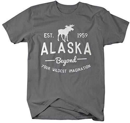 Shirts By Sarah Men's Alaska State T-Shirt Beyond Your Imagination Tee Moose-Shirts By Sarah