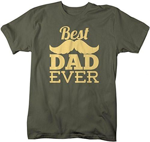 The Best Dad Ever Mustache Printed Mens Short Sleeve New Cotton Black T-shirt