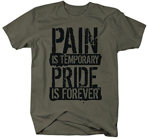 Shirts By Sarah Men's Workout T-Shirt Pain Temporary Pride Forever Gym Shirts-Shirts By Sarah