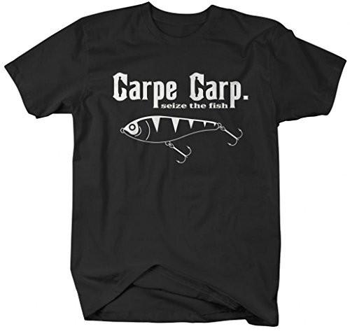 2b06b7af Shirts By Sarah Men's Funny Fishing T-Shirt Carpe Carp seize The Fish-Shirts