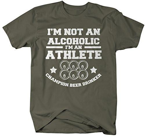 Shirts By Sarah Men's Funny Drinking Athlete T-Shirt Beer Drinker Champion Shirts-Shirts By Sarah
