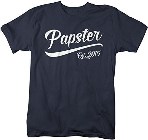 Shirts By Sarah Men's Funny Papster Est. 2015 T-Shirt Father's Day Grandpa Shirts-Shirts By Sarah