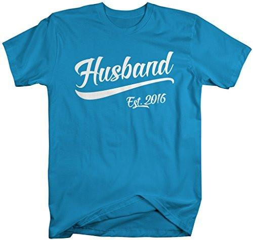 Shirts By Sarah Men's Husband Est. 2016 T-Shirt Wedding Anniversary Shirts-Shirts By Sarah