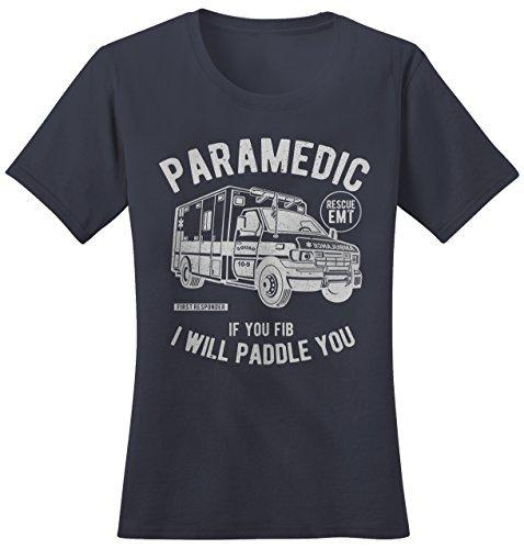 Shirts By Sarah Women's Funny Paramedic T-Shirt fib Paddle You Shirt EMT Tee-Shirts By Sarah