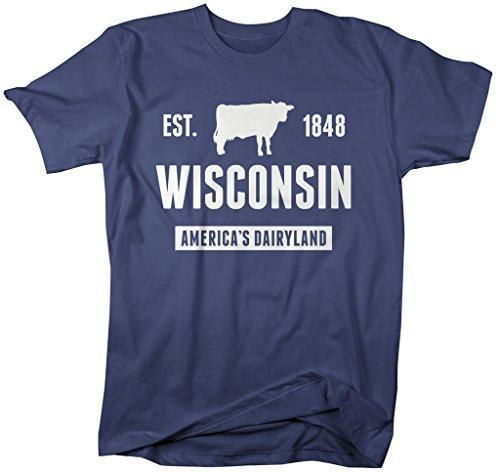 Shirts By Sarah Men's Wisconsin State Nickname Shirt America's Dairyland T-Shirts Est. 1848-Shirts By Sarah