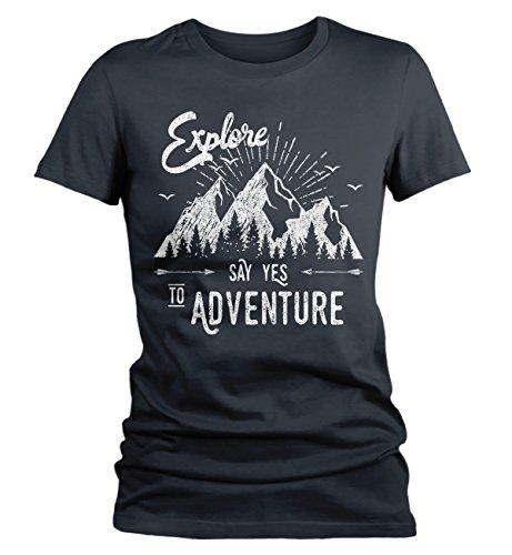 Women's Hipster Explore T-Shirt Mountains Say Yes Adventure Shirt-Shirts By Sarah