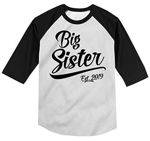 Shirts By Sarah Girl's Toddler Big Sister EST. 2019 T-Shirt Promoted to T-Shirt 3/4 Sleeve Raglan-Shirts By Sarah