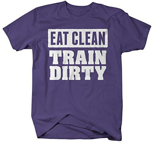 Shirts By Sarah Men's Eat Clean Train Dirty Workout T-Shirt-Shirts By Sarah