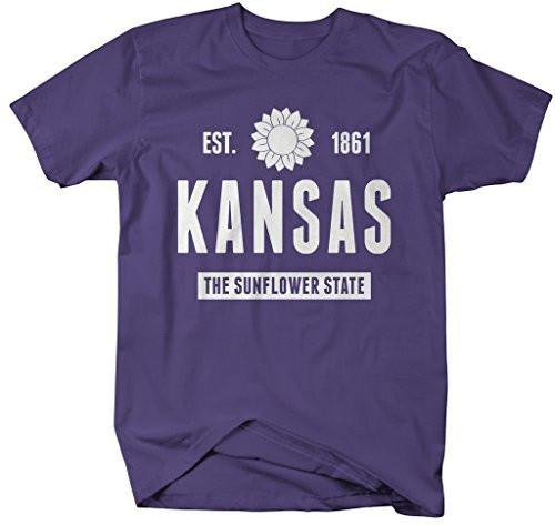 Shirts By Sarah Men's Kansas State Nickname Shirt The Sunflower State T-Shirts Est. 1861-Shirts By Sarah