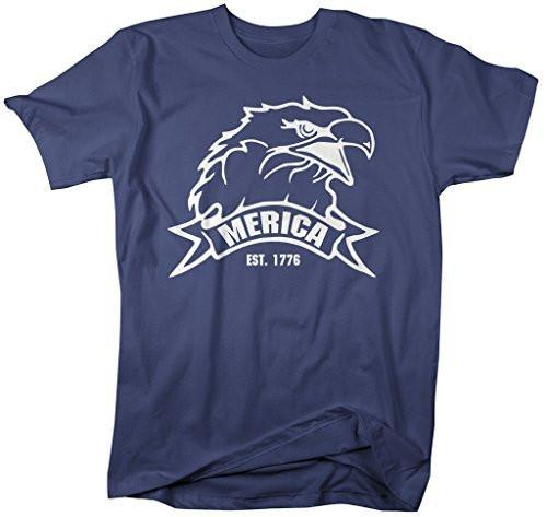 Shirts By Sarah Men's Patriotic 4th July T-Shirt Merica Est. 1776 Eagle Shirts-Shirts By Sarah