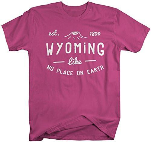 Shirts By Sarah Men's Wyoming State Slogan Shirt Like No Place On Earth T-Shirt Est. 1890-Shirts By Sarah