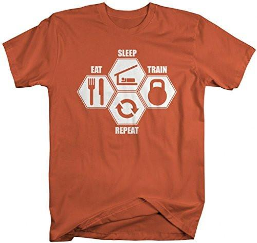 Shirts By Sarah Men's Workout T-Shirt Eat Sleep Cross Train Shirts-Shirts By Sarah