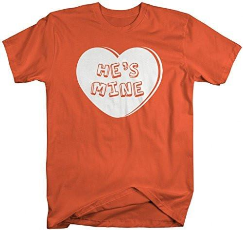 Shirts By Sarah Unisex Matching Valentine's Day Couples T-Shirts He's Mine Heart Shirts-Shirts By Sarah