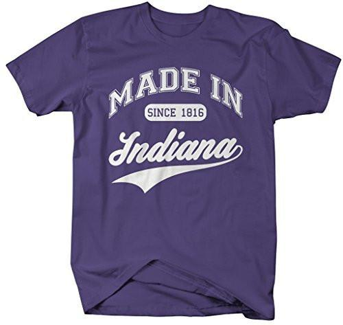 Shirts By Sarah Men's Made In Indiana T-Shirt Since 1816 State Pride Shirts-Shirts By Sarah