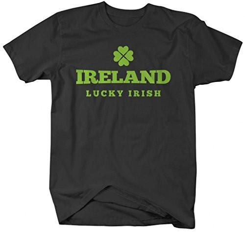 Shirts By Sarah Men's St. Patrick's Day Ireland Lucky Irish T-Shirt-Shirts By Sarah