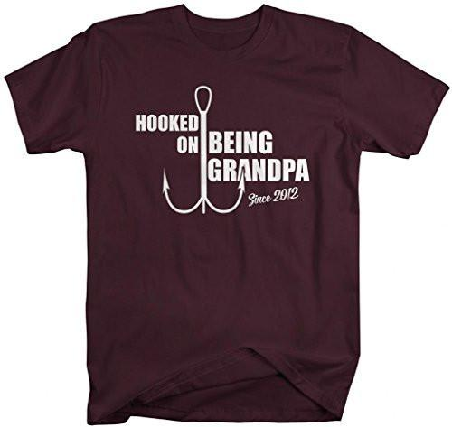 Shirts By Sarah Men's Hooked On Being Grandpa Since 2012 T-Shirt-Shirts By Sarah