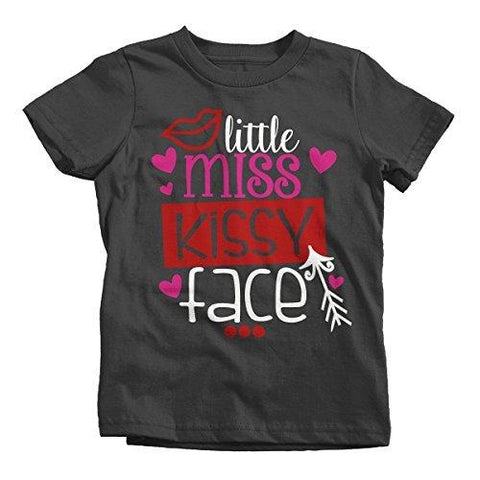 Shirts By Sarah Girl's Little Miss Kissy Face Funny Valentines Day T-Shirt-Shirts By Sarah