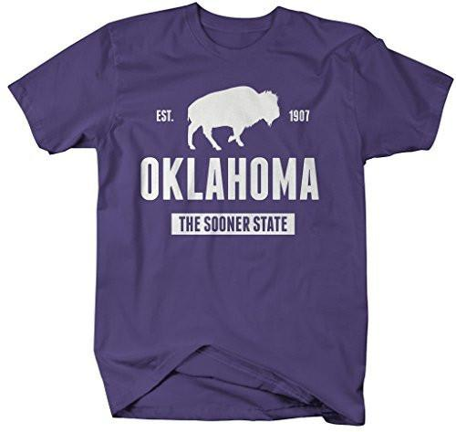 Shirts By Sarah Men's Oklahoma Shirt State Nickname T-Shirt Sooner State Est. 1907-Shirts By Sarah