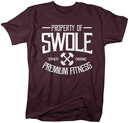 Shirts By Sarah Men's Property Of Swole Workout T-Shirt Gym Lifting Shirts-Shirts By Sarah