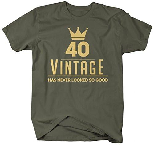 Shirts By Sarah Men's Funny 40th Birthday T-Shirt Vintage Never Looked So Good Shirts-Shirts By Sarah