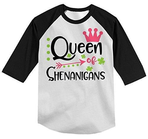 Shirts By Sarah Girl's Queen Of Shenanigans Funny T-Shirt ST. Patrick's Day Raglan Tee-Shirts By Sarah