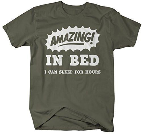 Shirts By Sarah Men's Funny Amazing In Bed T-Shirt Sleep For Hours Shirt-Shirts By Sarah