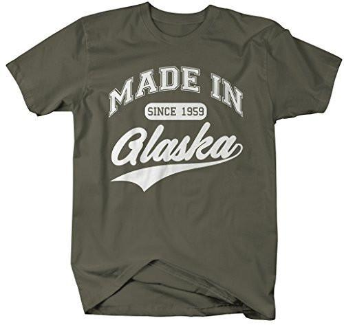 Shirts By Sarah Men's Made In Alaska T-Shirt Since 1959 State Pride Shirts-Shirts By Sarah
