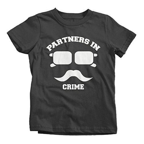 Shirts By Sarah Boy's Best Friend T-Shirts Partners In Crime Hipster Mustache - Black / Large - 2