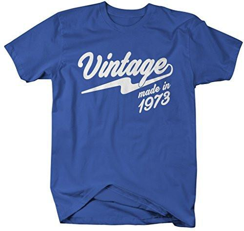 Shirts By Sarah Men's Vintage Made In 1973 T-Shirt Retro Birthday Shirts-Shirts By Sarah