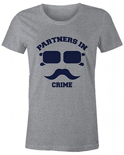 Shirts By Sarah Women's Best Friend T-Shirts Partners In Crime Hipster Mustache-Shirts By Sarah