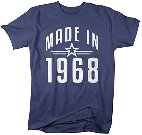 Shirts By Sarah Men's Made In 1968 Birthday T-Shirt Retro Star Custom Shirts-Shirts By Sarah