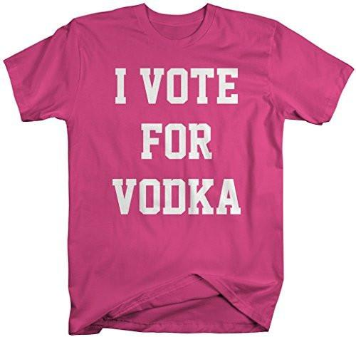 Shirts By Sarah Men's Funny Drinking T-Shirt Vote For Vodka Shirts-Shirts By Sarah