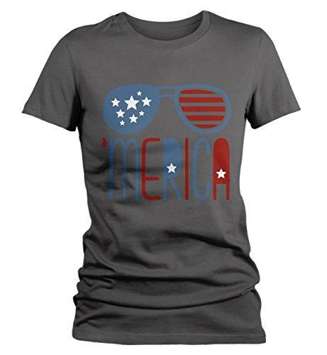 Shirts By Sarah Women's 'Merica T-Shirt Glasses Hipster Independence Shirt-Shirts By Sarah