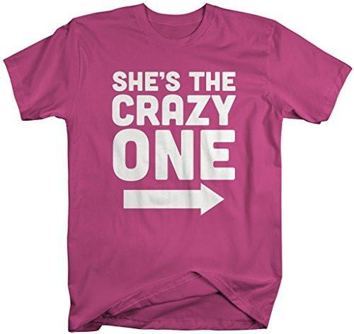 Shirts By Sarah Men's She's Crazy One Best Friend Mix Match Couples T-Shirt (Left)-Shirts By Sarah