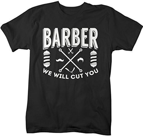 Shirts By Sarah Men's Funny Barber T-Shirt We Will Cut You Shirt Hairdresser Shirts-Shirts By Sarah