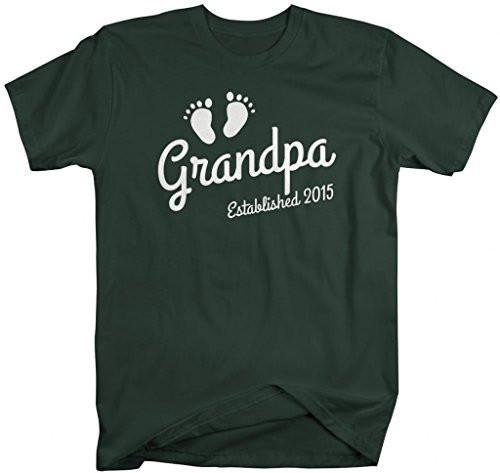 Shirts By Sarah Men's Grandpa Established 2015 T-Shirt Baby Feet Cute Shirts-Shirts By Sarah