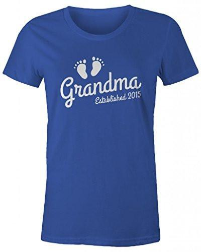 Shirts By Sarah Women's Grandma Established 2015 T-Shirt Baby Feet Cute Shirts-Shirts By Sarah