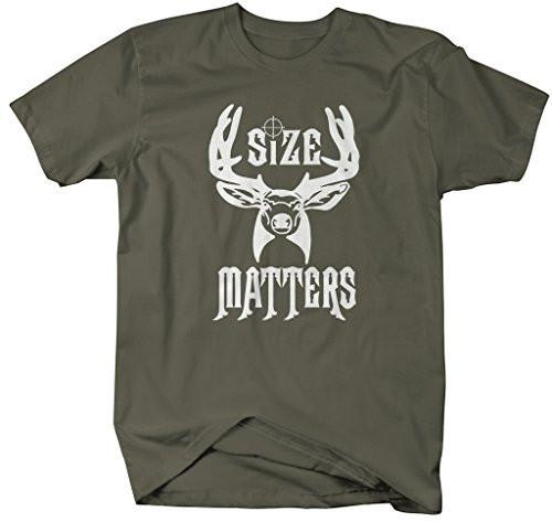 Shirts By Sarah Men's Funny Hunting T-Shirt - Size Matters Deer Shirts-Shirts By Sarah