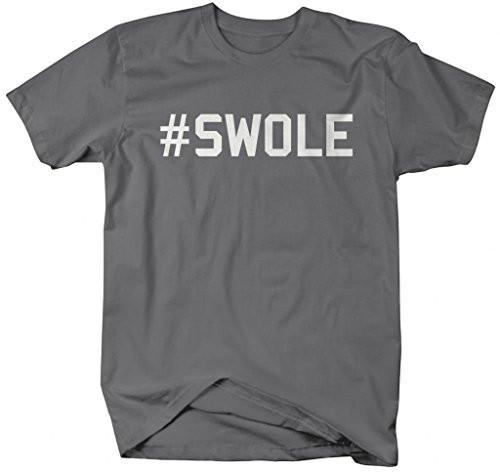 Shirts By Sarah Men's Hashtag Swole Workout T-Shirt Gym Shirts-Shirts By Sarah