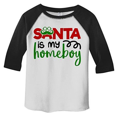 Shirts By Sarah Toddler Christmas Santa Homeboy Hipster T-Shirt 3/4 Sleeve Raglan-Shirts By Sarah