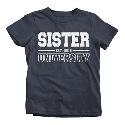 Shirts By Sarah Girl's Sister University 2016 T-Shirt Big Sister Shirts-Shirts By Sarah
